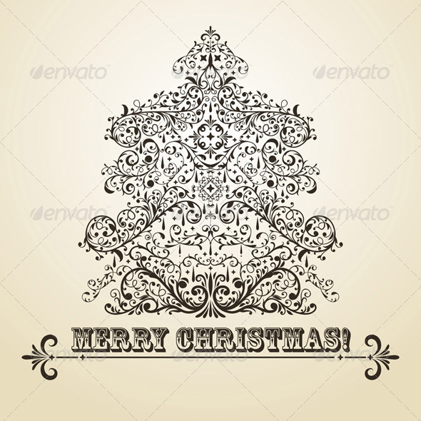 Vector Vintage Christmas Greeting Card with Fir Tr