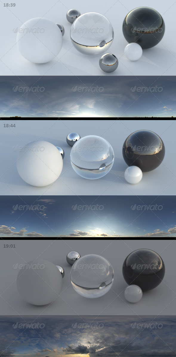 3er HDRI sky pack 03 - sunny clouds evening - 3DOcean Item for Sale