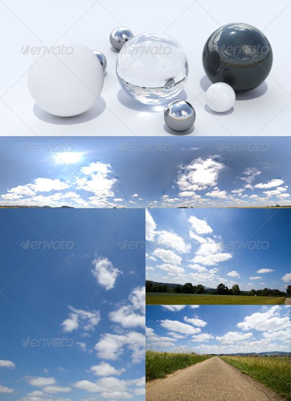 HDRI spherical panorama 1310- sunny sky clouds