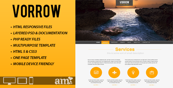 ThemeForest Vorrow One Page Responsive HTML Template 3398645