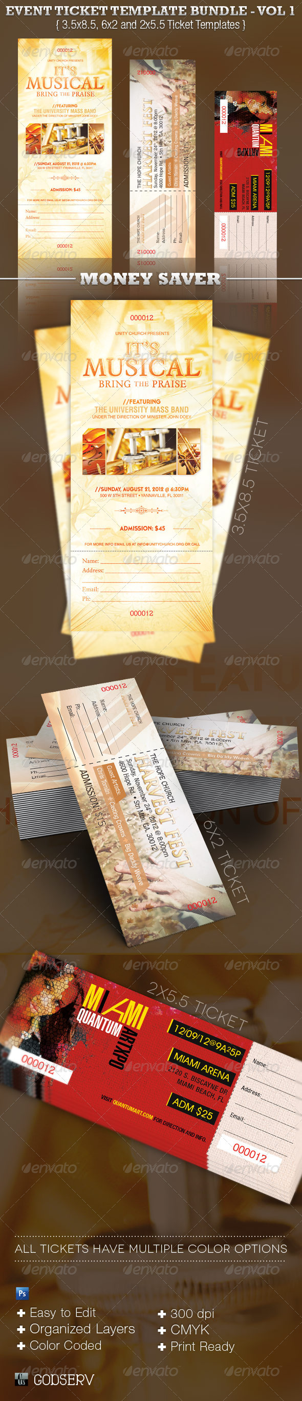 GraphicRiver Event Ticket Template Bundle Volume 1 3458690