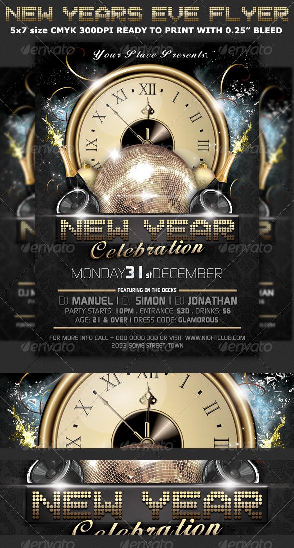 Flyer para Navidad Evento de Año Nuevo