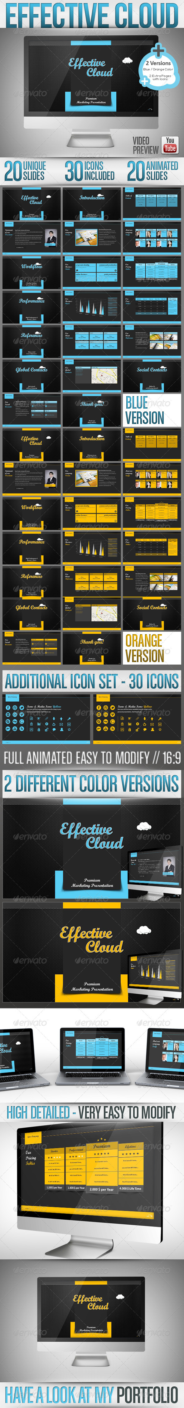 GraphicRiver Effective Cloud Powerpoint Full HD 2 Colors 3476816