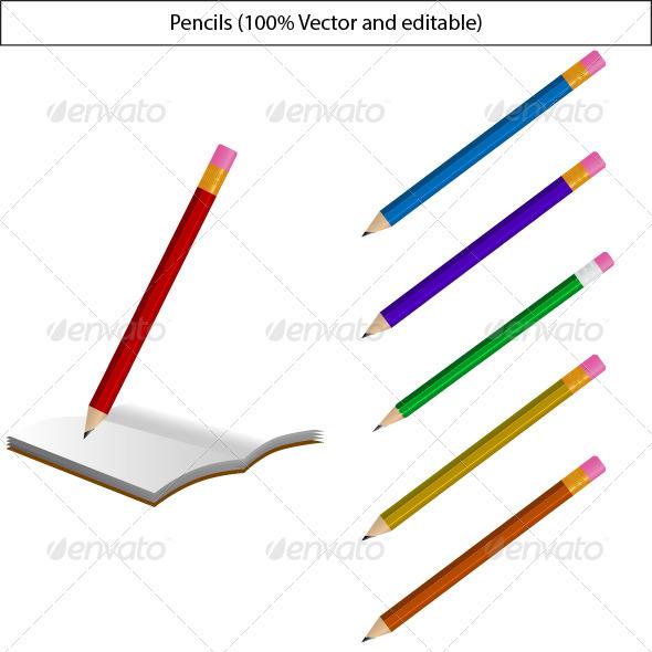 GraphicRiver Vector Pencils 3464861