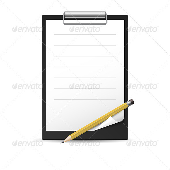 GraphicRiver Yellow Pencil and notepad 3477002
