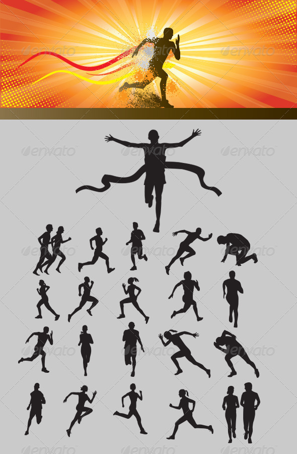 GraphicRiver Running Silhouette 3477043