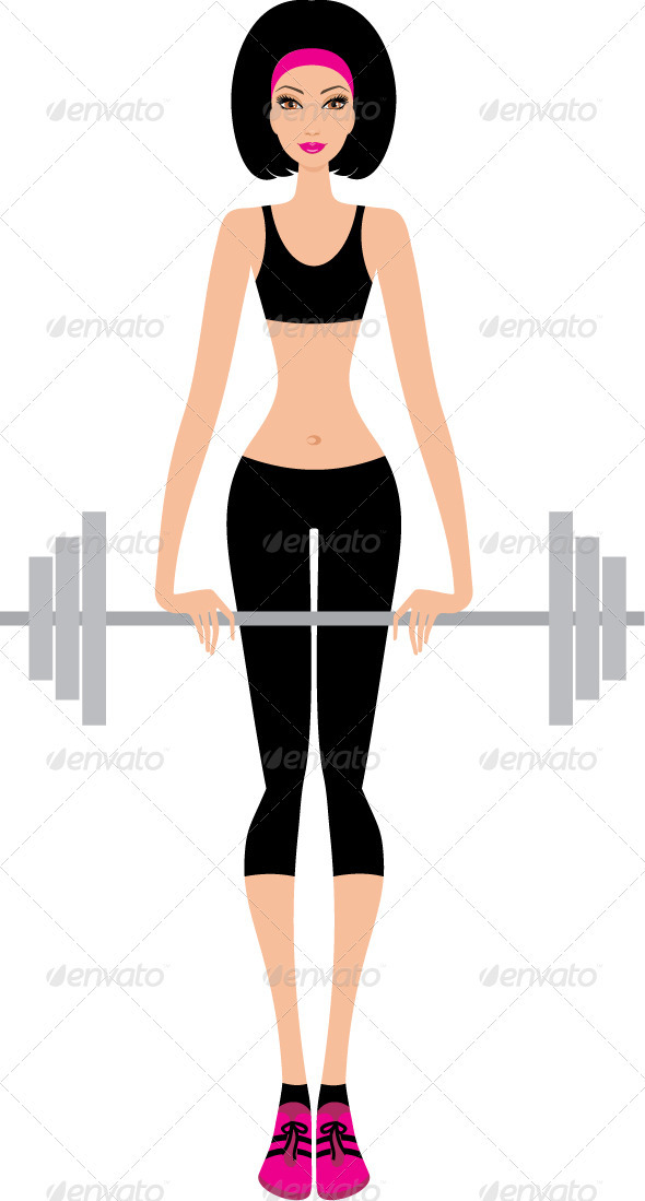 GraphicRiver Woman with a fitbar 3477340