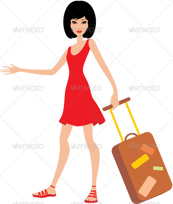 GraphicRiver Woman with a suitcase in a red dress 3477343