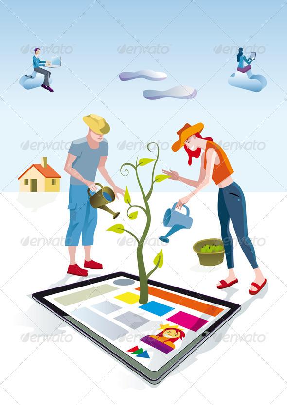 GraphicRiver Digital Tablet Gardeners 3477709