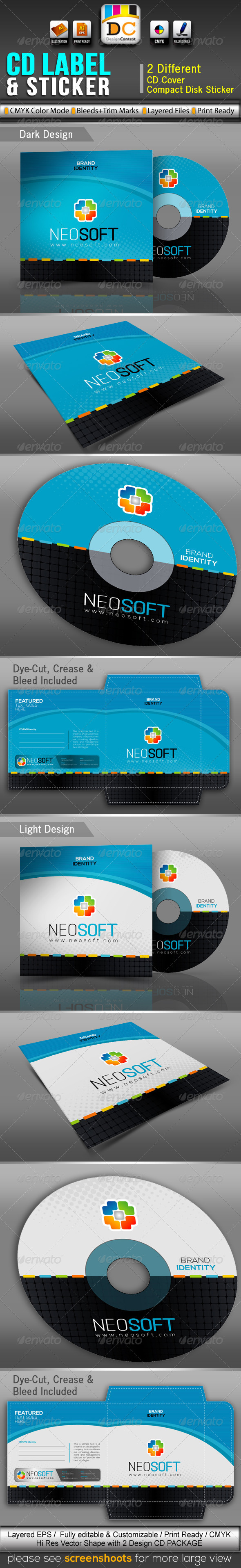 GraphicRiver NeoSoft CD Sleeve Label & Sticker 3477729