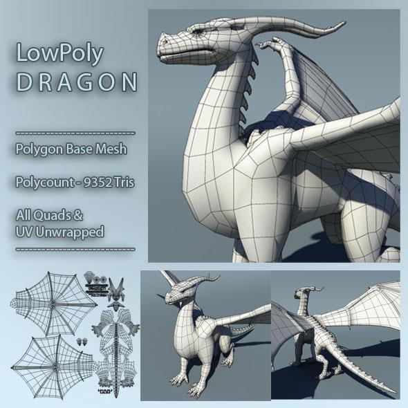 3DOcean Dragon Low Poly Base Mesh 3D Models -  Base Meshes 372877