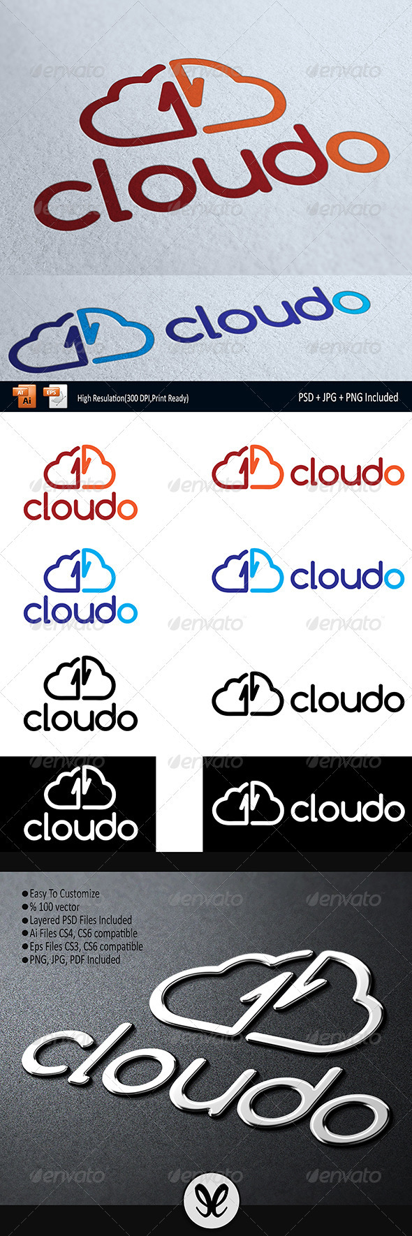 GraphicRiver Cloud Storage Cloudoo Logo Temlate 3460879
