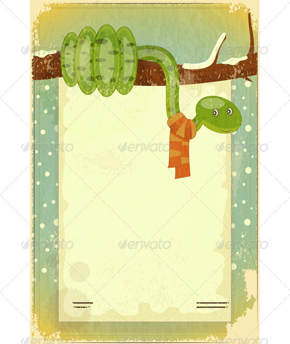 GraphicRiver Year of the Snake Retro Card 3477920