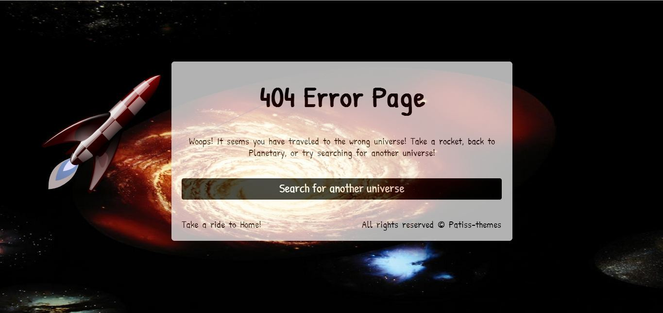 Planetary - Premium Error Page Template