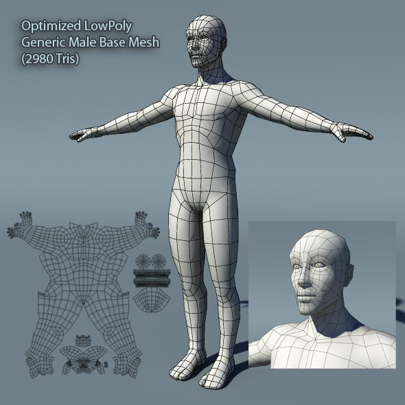 Optimized Low Poly Male Human Base Mesh Version1.0 - 3DOcean Item for Sale