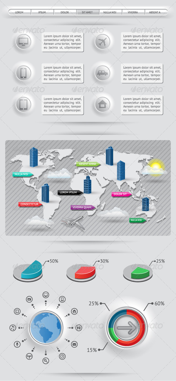 GraphicRiver Infographics Elements with World Map 3479772