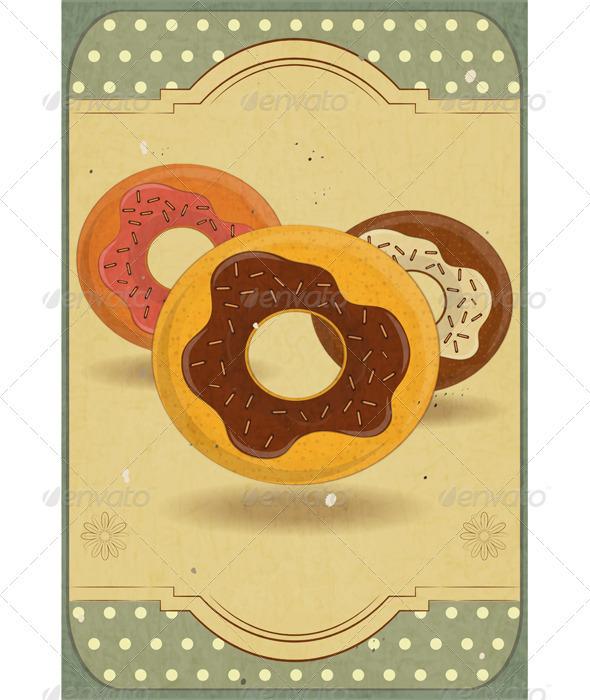 GraphicRiver Donuts on Retro Card 3479940
