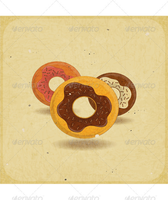 GraphicRiver Donuts on Vintage Background 3479995