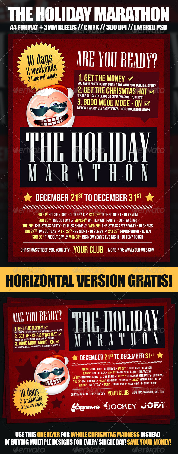 Christmas Holiday Marathon Flyer Template - Holidays Events