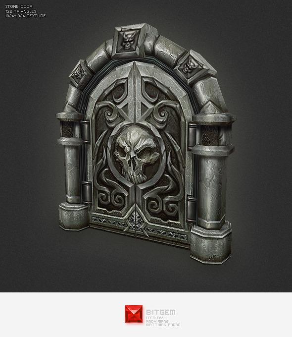 3DOcean Low Poly Stone Door 3481131