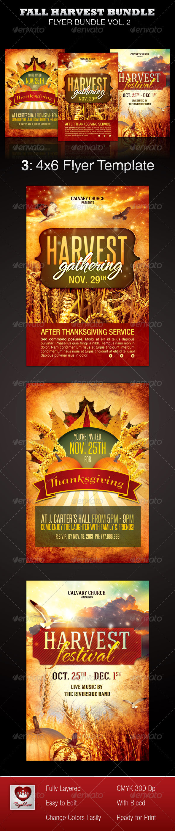 GraphicRiver Fall Harvest Flyer Template Bundle 3481193
