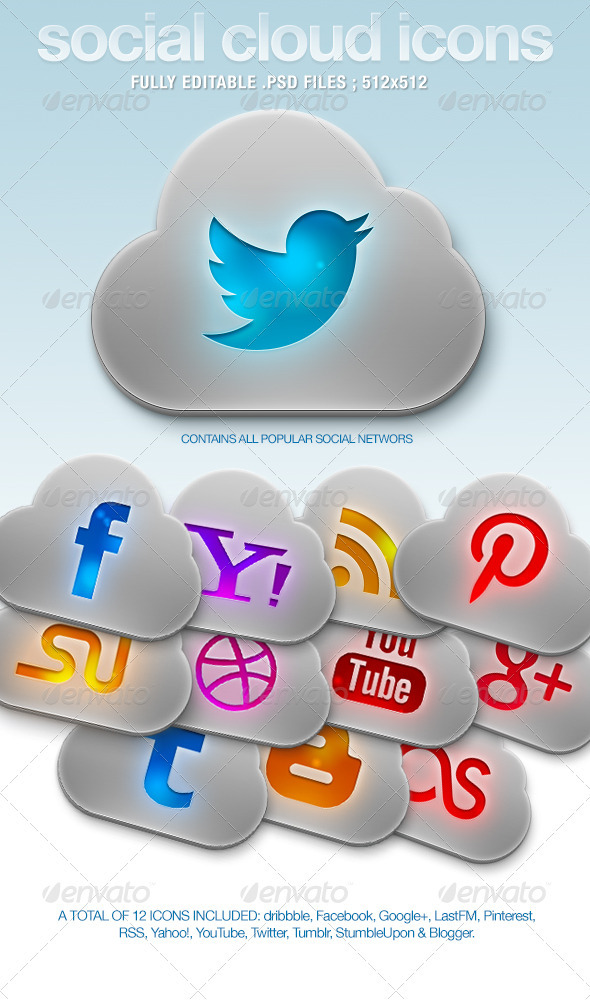 GraphicRiver Social Cloud Icons 3431966