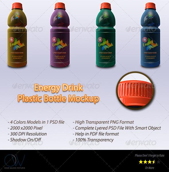 Energy Drink Plastic Bottle Mockup - Food and Drink Packaging