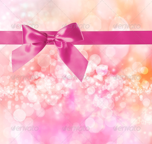 Pink Bow and Ribbon with Pink Bokeh Lights