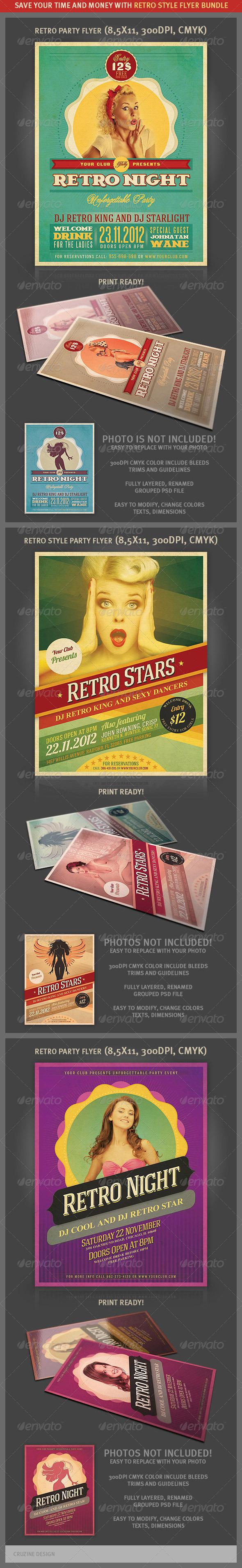 GraphicRiver Retro Party Flyers Bundle 3483987