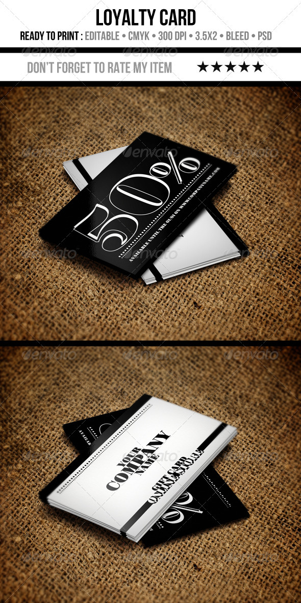 GraphicRiver Black & White Loyalty Card 3484451