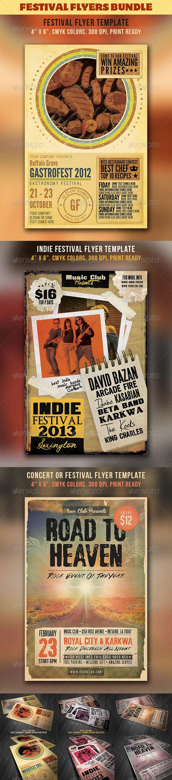 GraphicRiver Festival & Concert Flyers Bundle 3484459