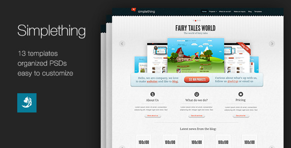 ThemeForest Simplething a clean PSD template 2668664