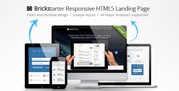 ThemeForest Brickstarter Responsive HTML5 Tech Landing Page Marketing Landing Pages Technology 3485214