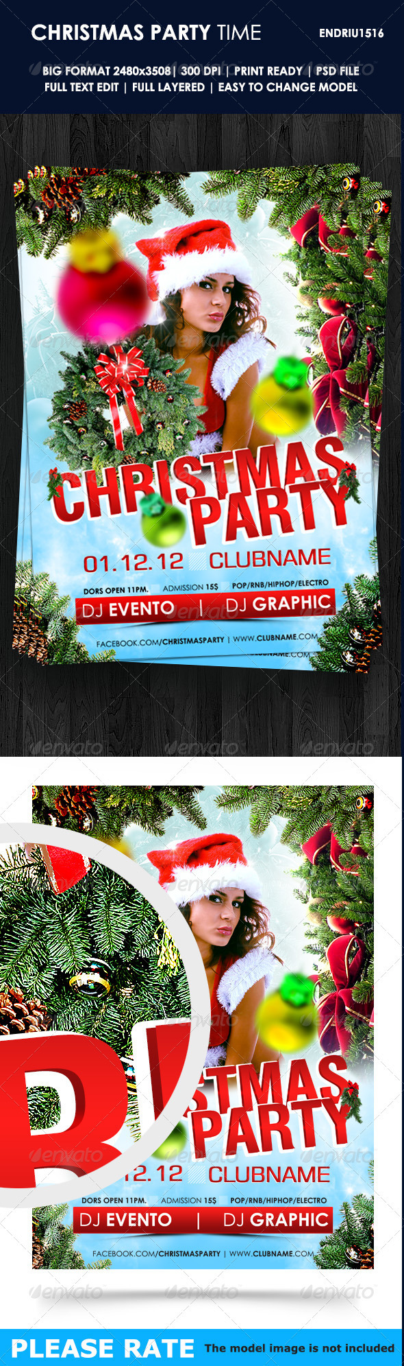 GraphicRiver Christmas Party Time Flyer Template 3464349