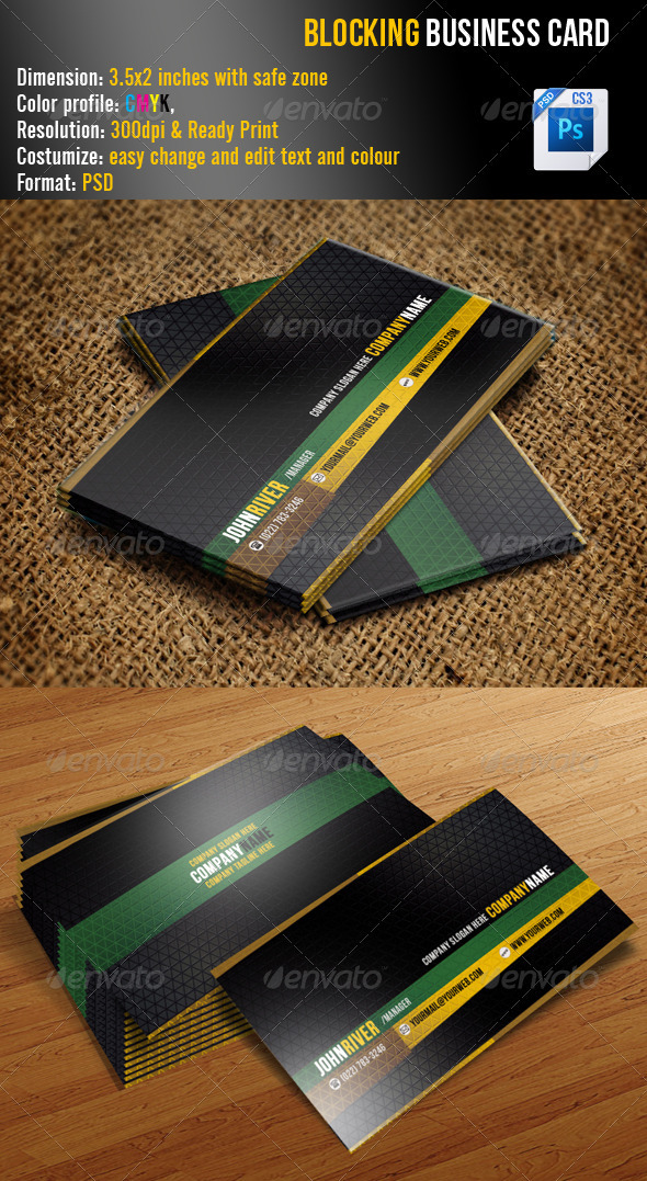 GraphicRiver Blocking Business Card 3460559