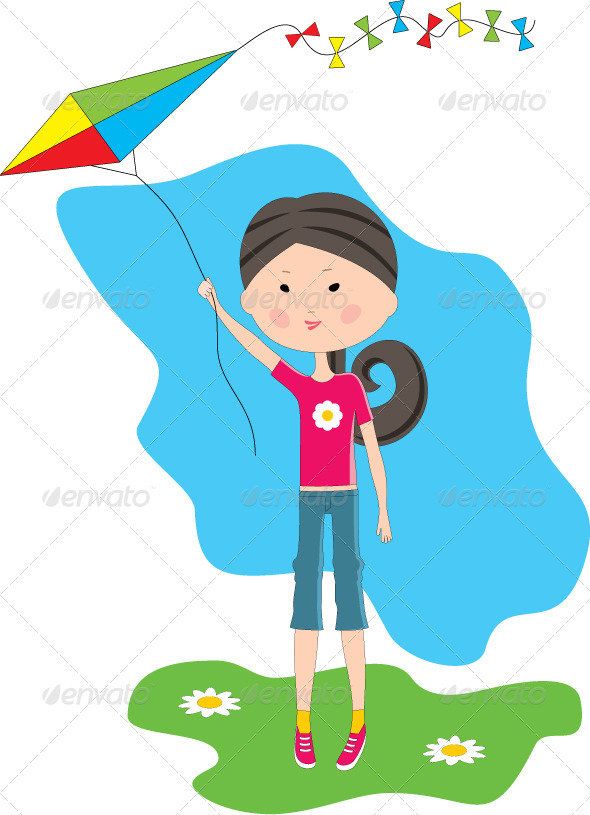 Cartoon Girl with a Kite