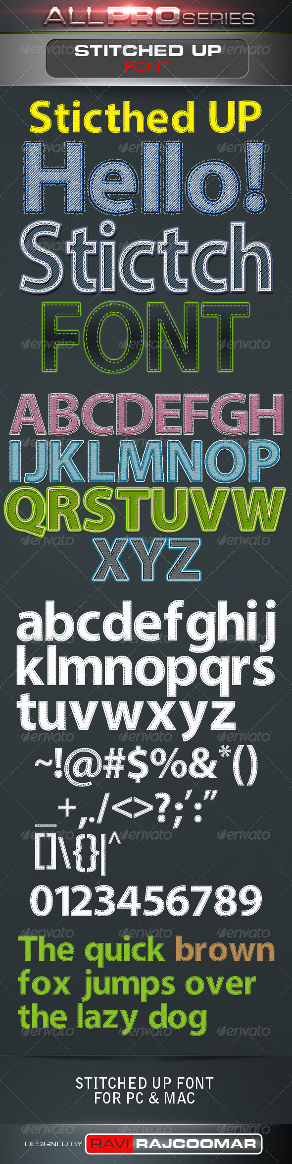 GraphicRiver Stitched UP Font 3486662