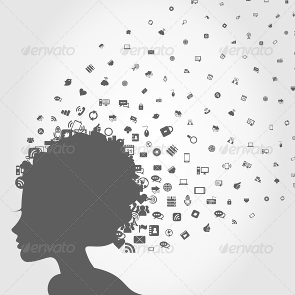 GraphicRiver Girl s Head and Computers 3488679