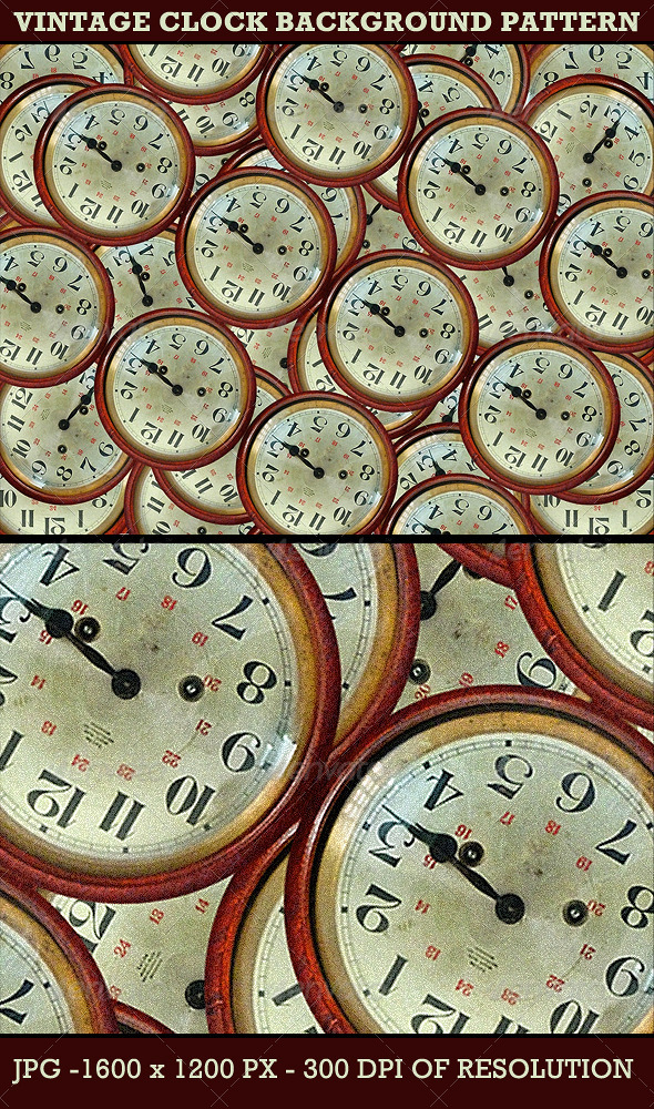 Vintage Clocks Background Pattern - Backgrounds Graphics