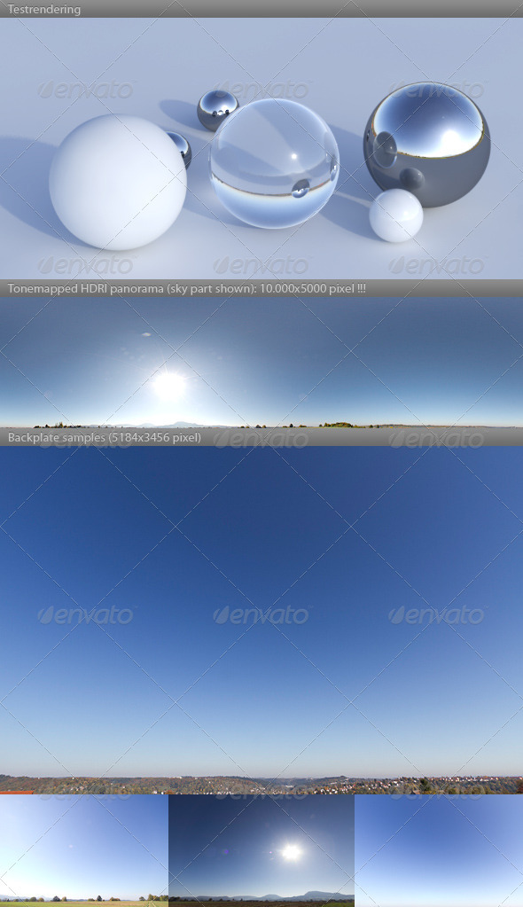 3DOcean HDRI spherical sky panorama 1232- sun blue sky 3488900