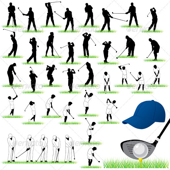GraphicRiver 40 Detailed Golf vector silhouettes set 3488994