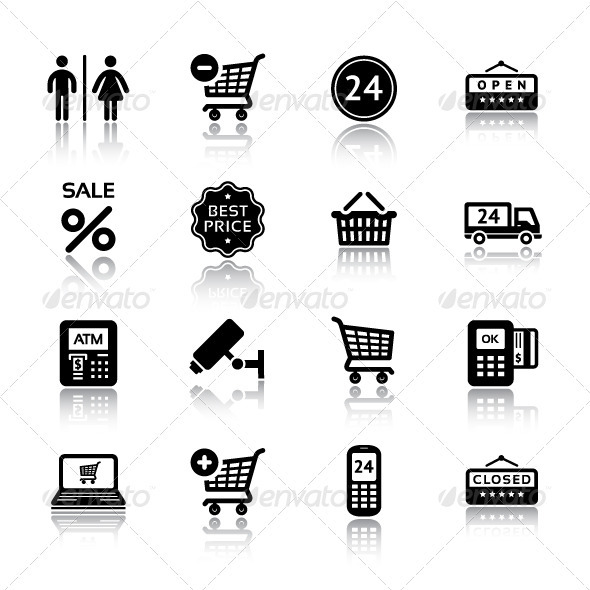 GraphicRiver Set Pictograms Supermarket Services Shopping Icon 3490357
