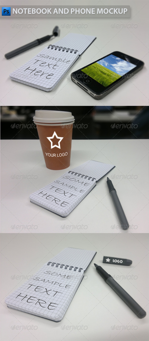 GraphicRiver Notebook and Phone Mockup 3491894