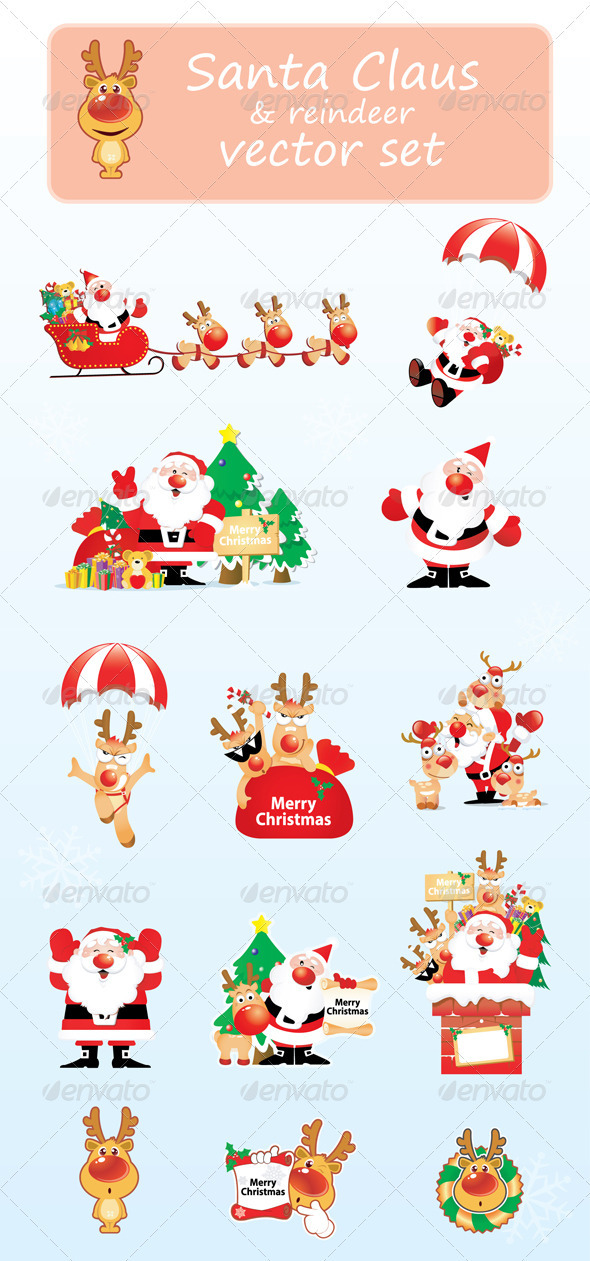 GraphicRiver Santa Claus & reindeer vector collection 3493413
