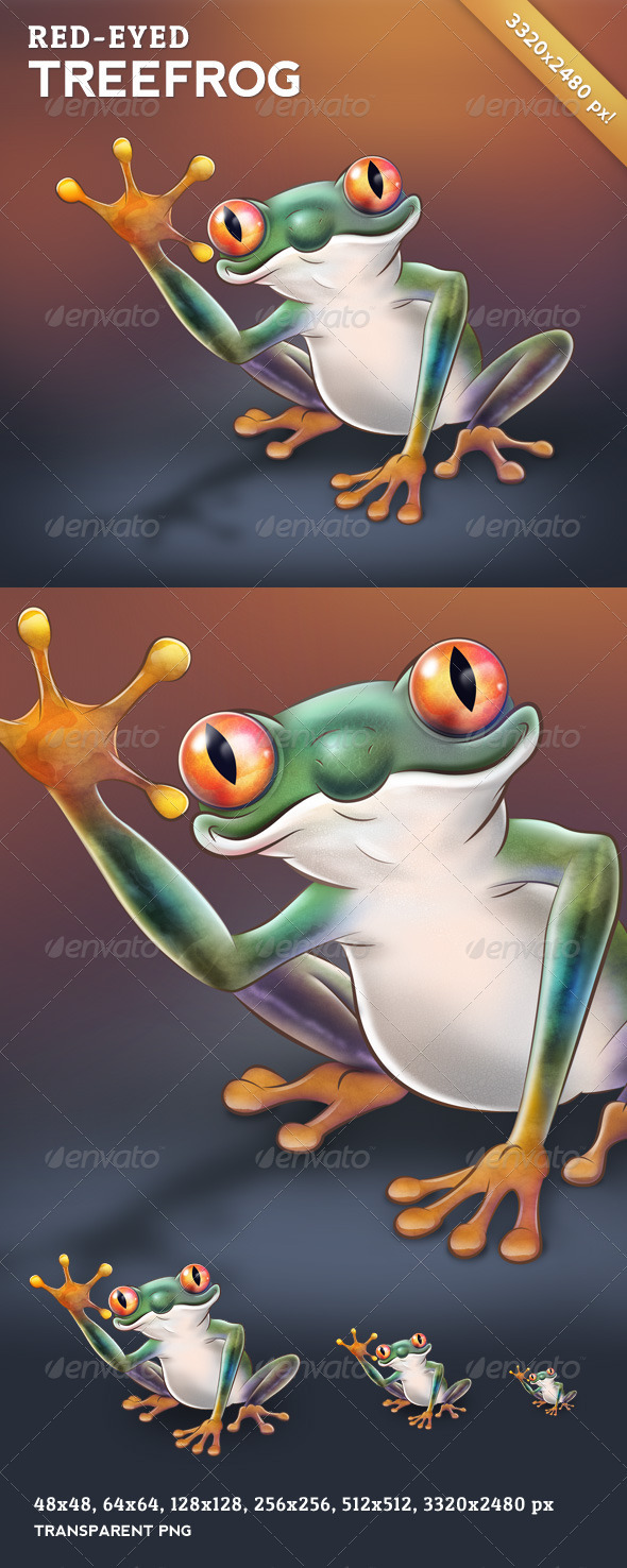 GraphicRiver Red-Eyed Treefrog Character Design 3494310