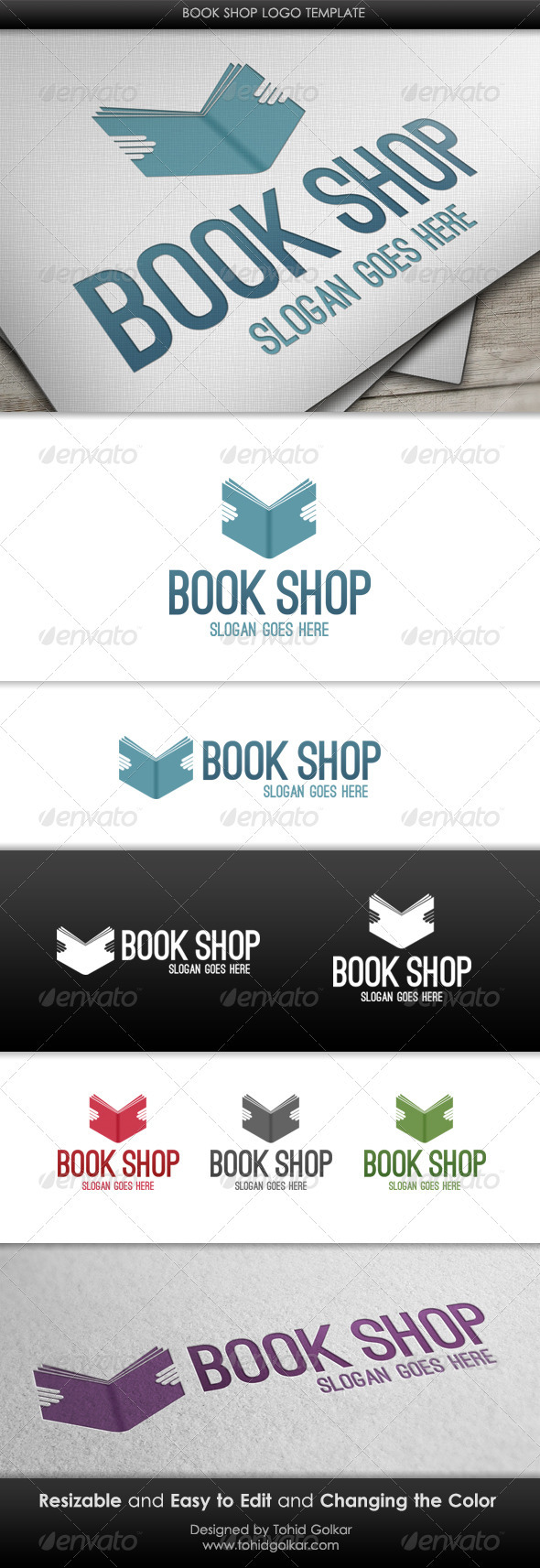 GraphicRiver Book Shop Logo Template 3494549