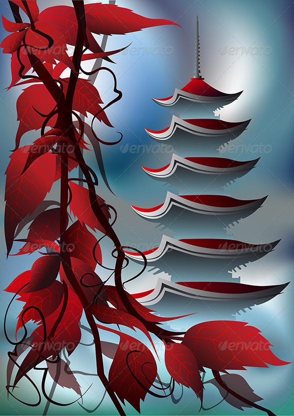 GraphicRiver Sunrise Pagoda 3495842