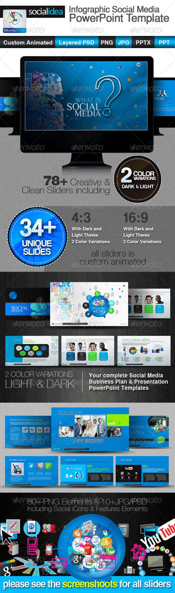 socialidea social media powerpoint templates graphicriver. Black Bedroom Furniture Sets. Home Design Ideas