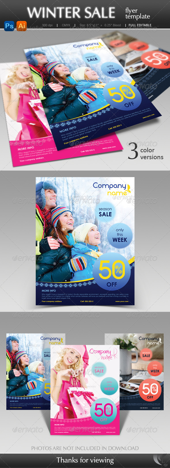 GraphicRiver Winter Sale Flyer Template 3496654