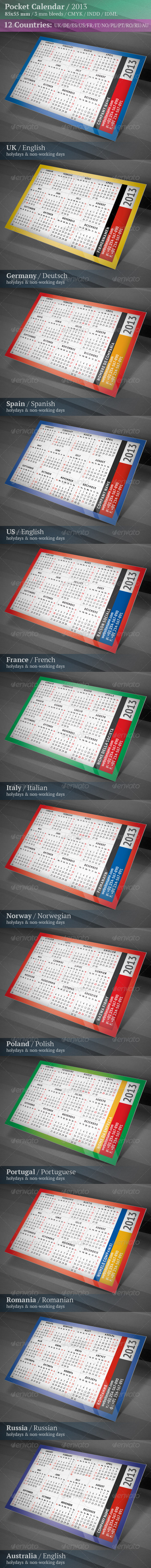 GraphicRiver Pocket Calendar 2013 Multilingual 3496811